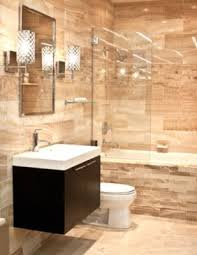 bathroom shower tile design color combinations: color combination stone tile white sink chrome fixtures dark cabinet bathroom gallery