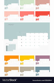 Calender Design Template Calendar Design Template For 2019 Simple Planner Vector Image