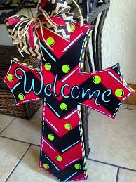 wooden cross to paint painted door hanger with ribbon welcome chevron design wood signs shapes designs wooden cross