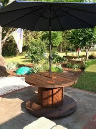 wooden wire spool table garden umbrella backyard decoration