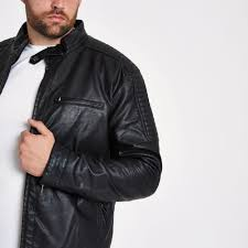 big and tall faux leather racer jacket for men lyst view fullscreen