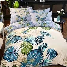 tropical leaf bedding palm print bed linen set cotton bohemian past bedclothes queen king size home tropical leaf bedding green bed set