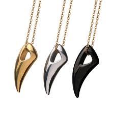whole titanium steel ox horn pendant man wolf tooth pendant stainless steel ornaments titanium steel pendant heart pendants necklaces silver necklaces