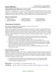 Fresh Professional Operations Manager Resume Healthcare Management
