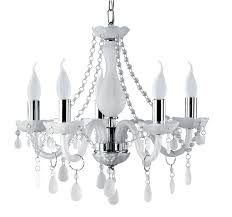 white crystal chandelier with white arm and steel candle tub the small