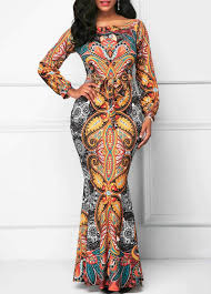 Akofa Designs Akofas Long Sleeve Belted Printed Mermaid Dress Akofascloset