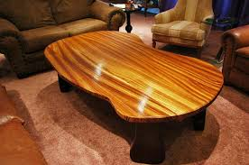 custom freeform zebrawood coffee table