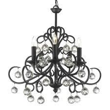 versailles bellora iron and crystal 5 light black chandelier