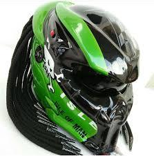Predator Motorcycle Helmet Designs Predator Helmet Custom Motorcycle Black Green Approved Dot