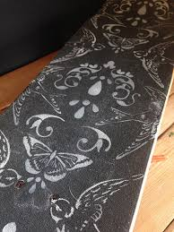 we had some fun with our original damask stencil by pairing it with our swallow stencil we loved the combination reminded us of wallpaper