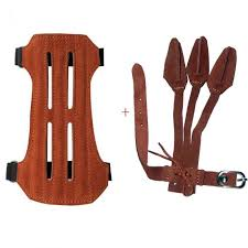 irq archery leather 2 strap hunting arm guard and 3 finger gloves safety gear
