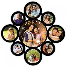 or send personalized 9 pic collage frame with round wall clock regalocasila