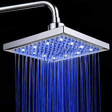 8 inch square led shower head rain shower light 3 color shower head