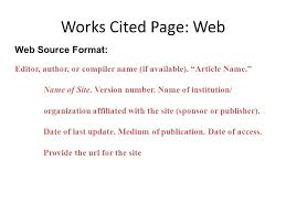 Mla Formats For Works Cited Work Cited Mla Format Website Example