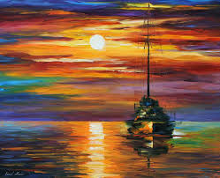 calm sunset palette knife oil painting on canvas by leonid afremov size 36 x30 90cm x 75cm