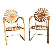 art deco outdoor furniture. 1930\u0027s French Art Deco Francois Carre Sunburst Cantilevered Iron Chairs - A Pair Outdoor Furniture R