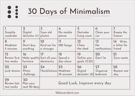 30 Day Minimalism Calendar 30 Days