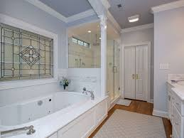 Traditional Master Bathroom With Crown Molding  Stone Tile In - Crown molding for bathroom