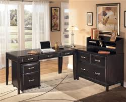 mesmerizing l shaped desk with hutch home office which is installed with several black drawers and placed below classic japanese style of flower painting black shaped office desks