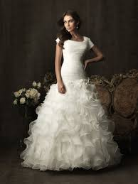 gown square neck organza ruffle modest wedding dress with sleeves