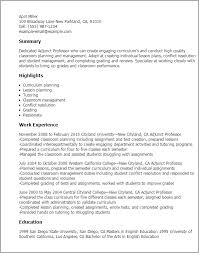 Resume Templates: Adjunct Professor