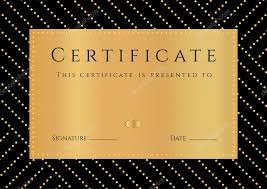 certificate diploma of completion black background golden  certificate diploma of completion black background golden elemets pattern border gold
