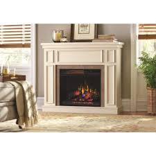 convertible mantel electric fireplace in antique white with faux stone surround