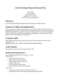 Cover Letter Interior Design Resume Samples Interior Design