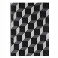 black and white geometric rug. black \u0026 white wool rug pl-geo04. geometric cubes and