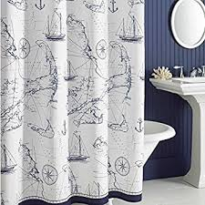 DS BATH Aviation Nautical Shower Curtains,Mildew Resistant Fabric Shower  Curtain,Navy Shower Curtains