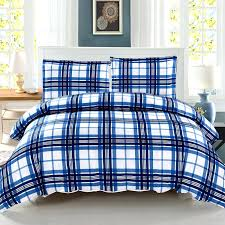 flannel plaid duvet covers tartan duvet microfiber lightweight supersoft blue white plaid duvet cover set king