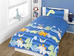 dinosaur blue junior toddler cot quilt duvet cover pillowcase bedding bed set co uk kitchen home