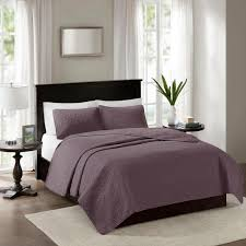 madison park mansfield 3 piece purple king cal king reversible mini coverlet set