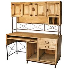 rustic pine and wrought iron computer desk with upper hutch mexican rustic office furniture