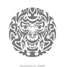 Stock Vektor Evil Face Tribal Tattoo Ornament Vector Bez