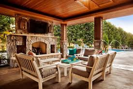 great outdoor patio dsign with brown covers outdoor patio