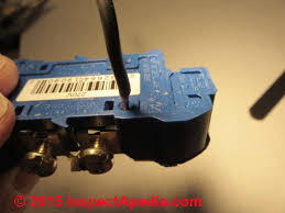 electrical outlet wire connections receptacle or wall plug wire wire being pushed into the back of a back wired spring clip type receptacle