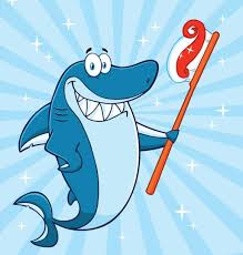 smiling shark clipart. Modren Clipart Smiling Blue Shark Cartoon Mascot Character Holding A Toothbrush With Paste  Vector Art Illustration And Clipart C