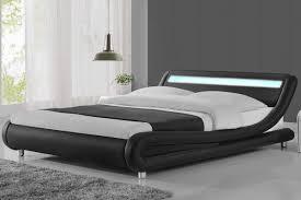 Madrid LED Lights Modern Designer Black Double King Size Bed Frame ...
