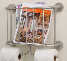 Toilet Roll Holder Magazine Rack Adorable Wall Mounted Bathroom Metal Magazine Rack With Double Toilet Roll
