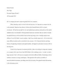 investwrite essay robert durant mrs page personal finance period 7 30 2014 ge a company