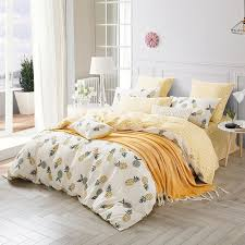hipster yellow white and gray pineapple print rustic chic shabby chic twin full queen size bedding sets