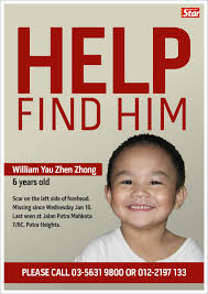 Make A Missing Poster Nuraina A Samad's 24 Jalan Sudin NUR Alert Out For William Yau 17
