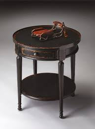 black distressed round sode table with single drawer and shelf with furniture end tables