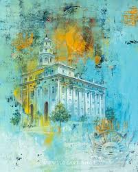 nauvoo temple fine art cold wax painting