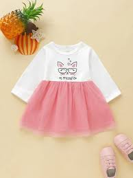 Shein Baby Clothes Size Chart Baby Girl Contrast Mesh Cartoon Graphic A Line Dress