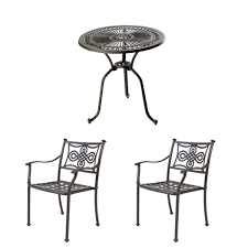cast aluminium bistro table 28 inch with 2 knot chairs black