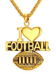 fancy american football letter heart shape pendant necklace