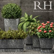 restoration hardware pedestal sheet metal planters 3d model max fbx 1