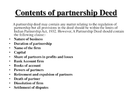 If you want to start a business on partnership basis with any of your friend or family member. Partnership Deed And Discuss Its Contents